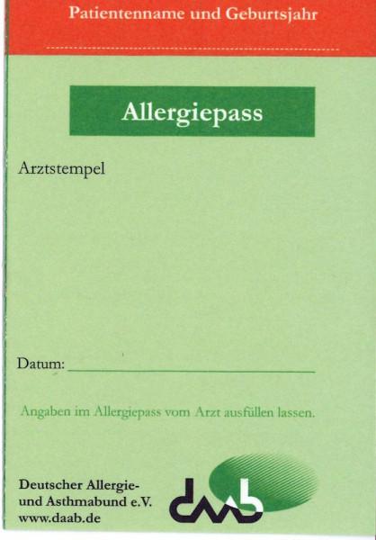 Allergiepass 10 Stück